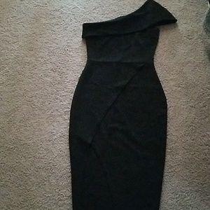 Boohoo Off One Shoulder Slit dress Black